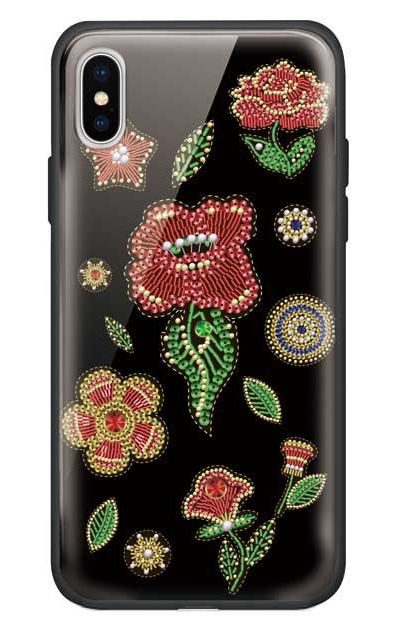 iPhoneXのガラスケース、ビーズ刺繍フラワー【スマホケース】