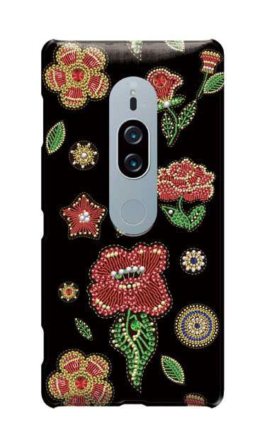 Xperia XZ2 Premiumのケース、ビーズ刺繍フラワー【スマホケース】