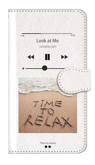 iPhoneSEのケース、ミュージックプレイヤーホワイト「relax」【スマホケース】