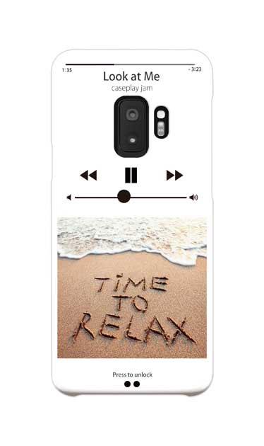 Galaxy S9のケース、ミュージックプレイヤーホワイト「relax」【スマホケース】