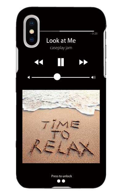 iPhoneXのケース、ミュージックプレイヤーブラック「relax」【スマホケース】