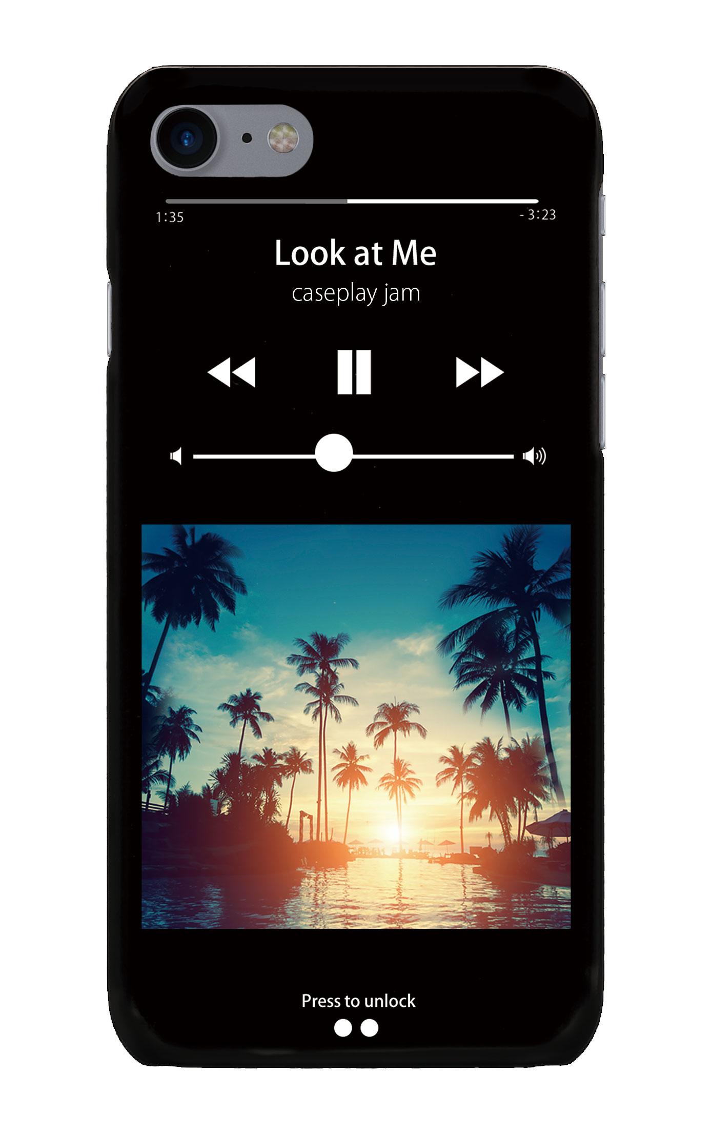 iPhone7のケース、ミュージックプレイヤーブラック「sunset beach」【スマホケース】