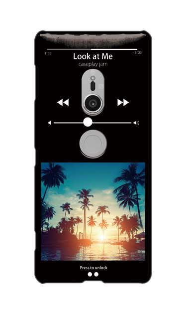 Xperia XZ2のケース、ミュージックプレイヤーブラック「sunset beach」【スマホケース】