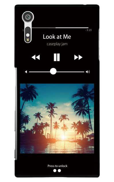 Xperia XZのケース、ミュージックプレイヤーブラック「sunset beach」【スマホケース】