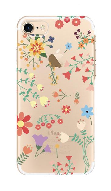iPhone8のクリア(透明)ケース、キュートな花柄【スマホケース】