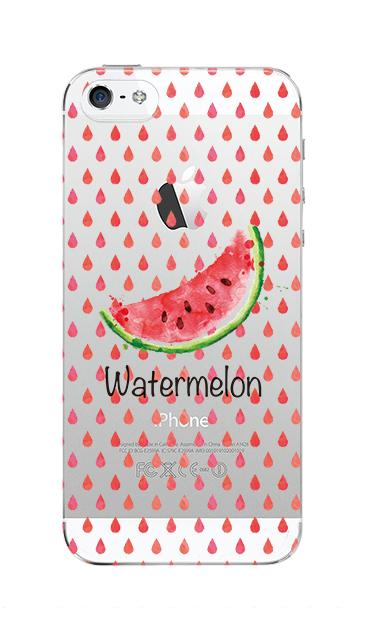 iPhoneSEのクリア(透明)ケース、watermelon【スマホケース】