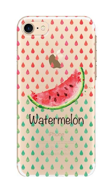 iPhone8のクリア(透明)ケース、watermelon【スマホケース】
