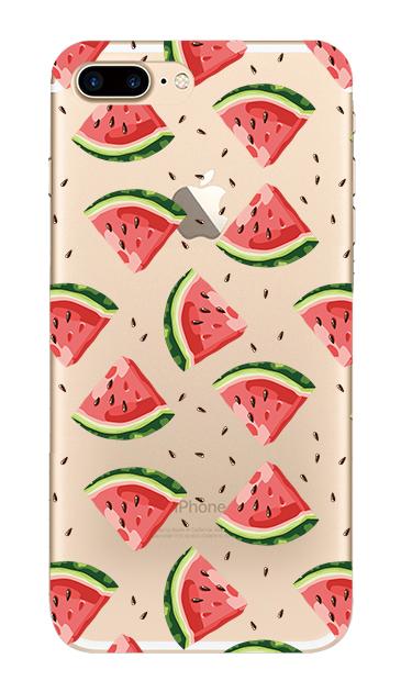 iPhone7 Plusのクリア(透明)ケース、スイカパターン【スマホケース】