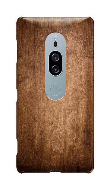 Xperia XZ2 Premiumのケース、ブラウンウッド【スマホケース】