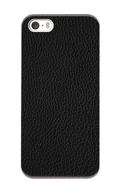 iPhoneSEのハードケース、ブラックレザー【スマホケース】