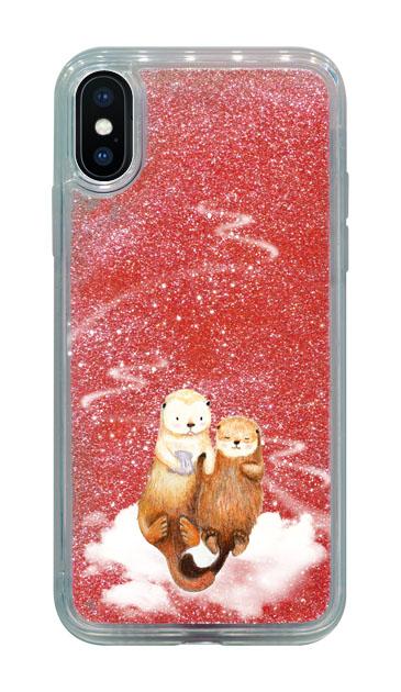 iPhoneXのグリッターケース、天の川のラッコ【スマホケース】