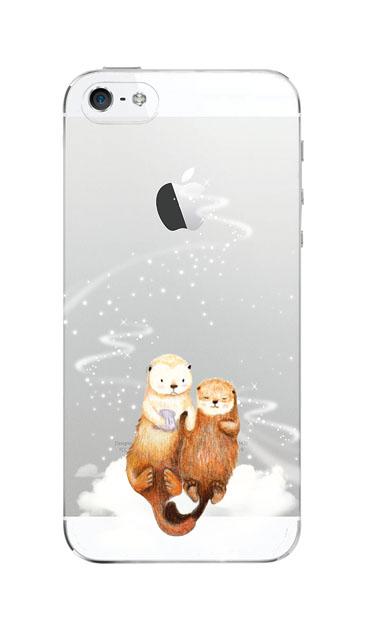 iPhoneSEのクリア(透明)ケース、天の川のラッコ【スマホケース】