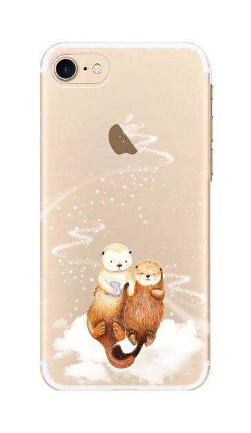 iPhone8のクリア(透明)ケース、天の川のラッコ【スマホケース】