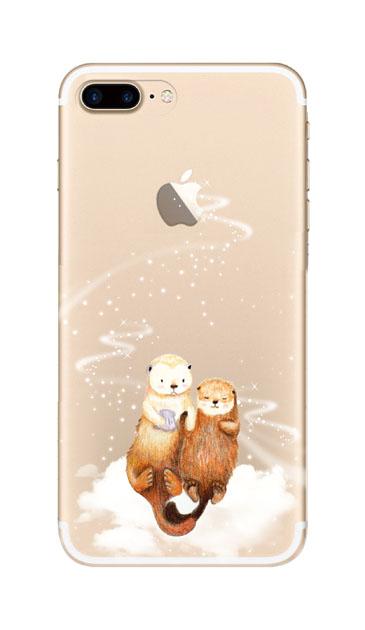 iPhone7 Plusのクリア(透明)ケース、天の川のラッコ【スマホケース】