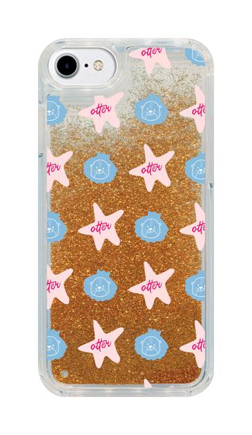 iPhone8のグリッターケース、Cute otter【スマホケース】