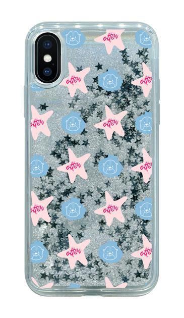 iPhoneXのグリッターケース、Cute otter【スマホケース】