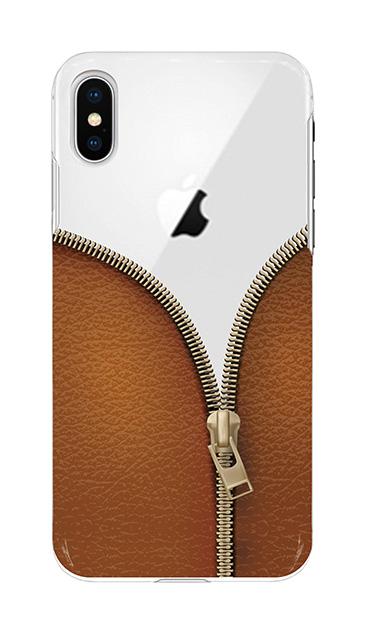 iPhoneXSのケース、カジュアルなジッパー【スマホケース】
