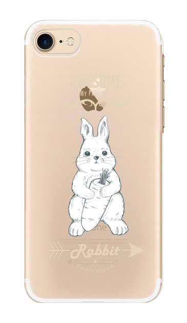 iPhone8のクリア(透明)ケース、Awesome Rabbit【スマホケース】