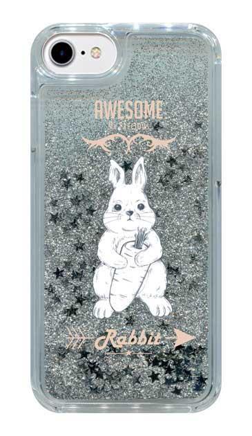 iPhone8のグリッターケース、Awesome Rabbit【スマホケース】