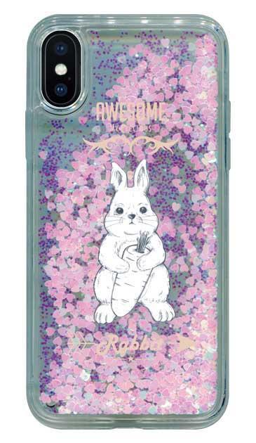 iPhoneXのグリッターケース、Awesome Rabbit【スマホケース】