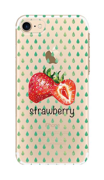 iPhone7のクリア(透明)ケース、strawberry【スマホケース】