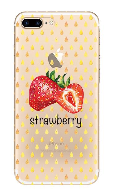 iPhone7 Plusのクリア(透明)ケース、strawberry【スマホケース】