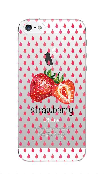 iPhoneSEのクリア(透明)ケース、strawberry【スマホケース】