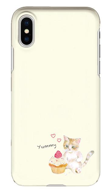 iPhoneXのケース、ねことカップケーキ【スマホケース】