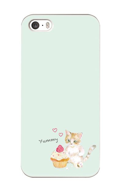 iPhoneSEのケース、ねことカップケーキ【スマホケース】