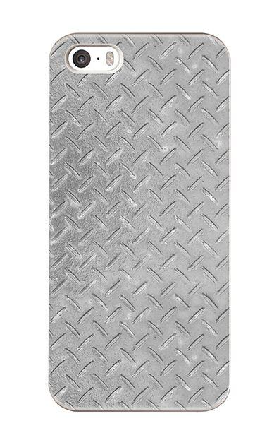 iPhoneSEのハードケース、Iron Plate (Silver)【スマホケース】