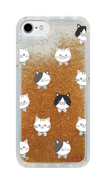 iPhone8のグリッターケース、猫たち【スマホケース】