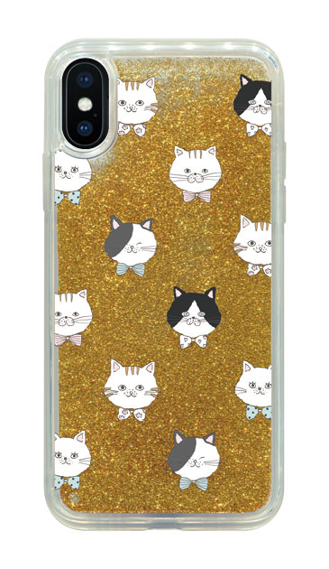 iPhoneXのグリッターケース、猫たち【スマホケース】
