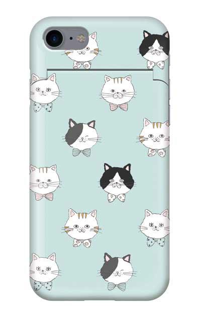 iPhone8のミラー付きケース、猫たち【スマホケース】