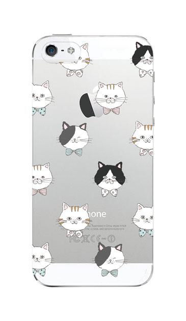 iPhoneSEのクリア(透明)ケース、猫たち【スマホケース】