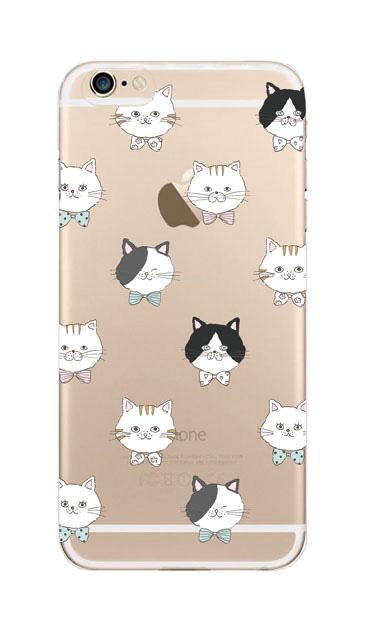 iPhone6sのクリア(透明)ケース、猫たち【スマホケース】