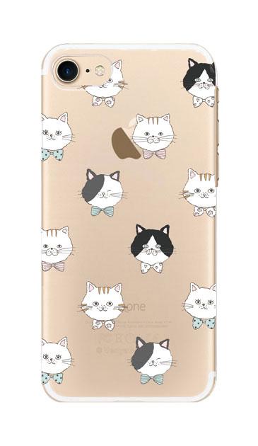 iPhone8のクリア(透明)ケース、猫たち【スマホケース】