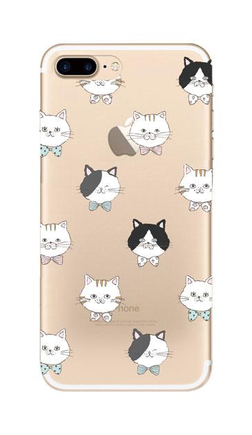 iPhone7 Plusのクリア(透明)ケース、猫たち【スマホケース】