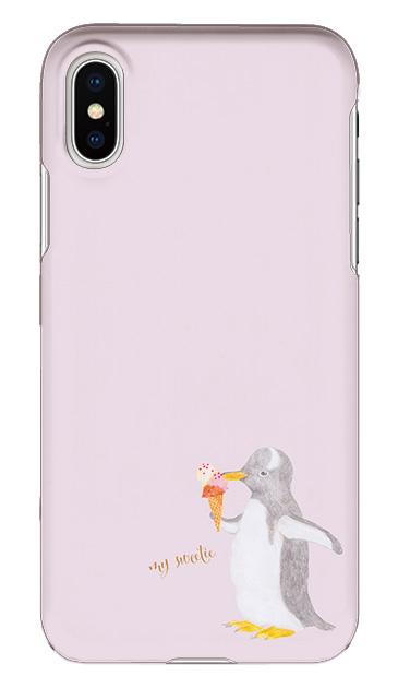 iPhoneXSのケース、ペンギンとアイスクリーム【スマホケース】