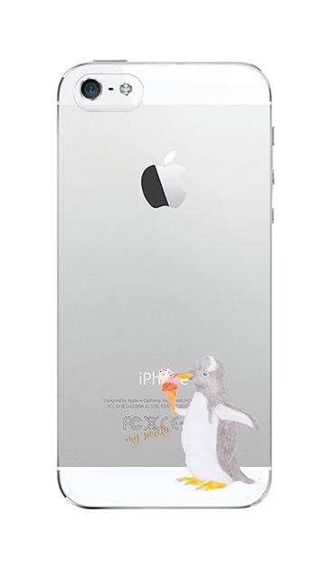 iPhoneSEのクリア(透明)ケース、ペンギンとアイスクリーム【スマホケース】