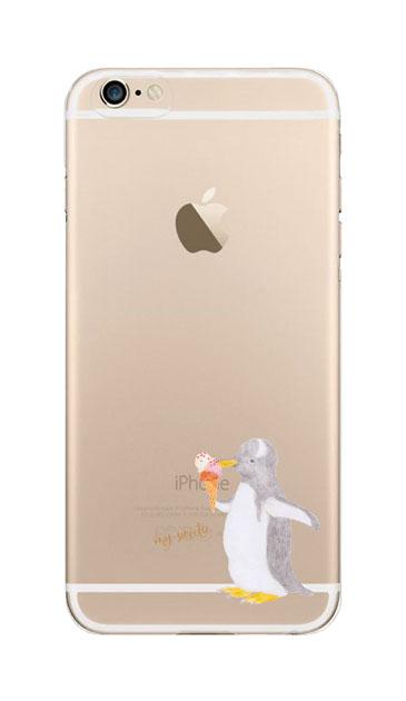 iPhone6sのクリア(透明)ケース、ペンギンとアイスクリーム【スマホケース】