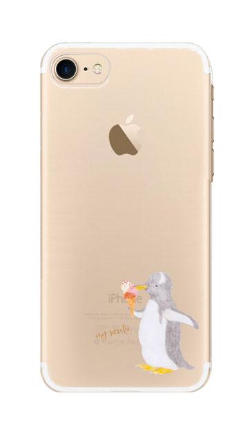 iPhone8のクリア(透明)ケース、ペンギンとアイスクリーム【スマホケース】