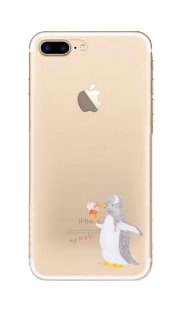iPhone7 Plusのクリア(透明)ケース、ペンギンとアイスクリーム【スマホケース】