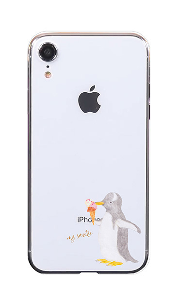 iPhoneXRのケース、ペンギンとアイスクリーム【スマホケース】