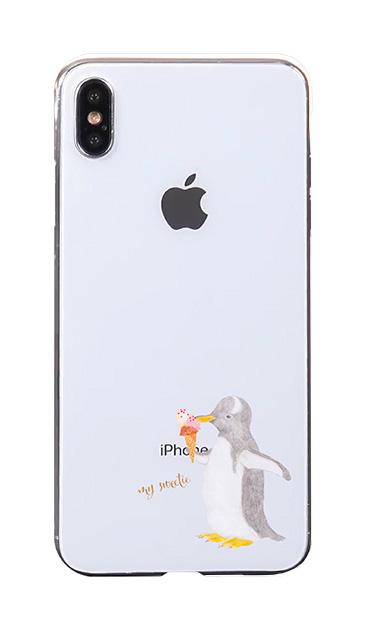iPhoneXS Maxのケース、ペンギンとアイスクリーム【スマホケース】