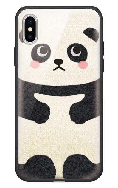 iPhoneXSのガラスケース、はこづめパンダ【スマホケース】