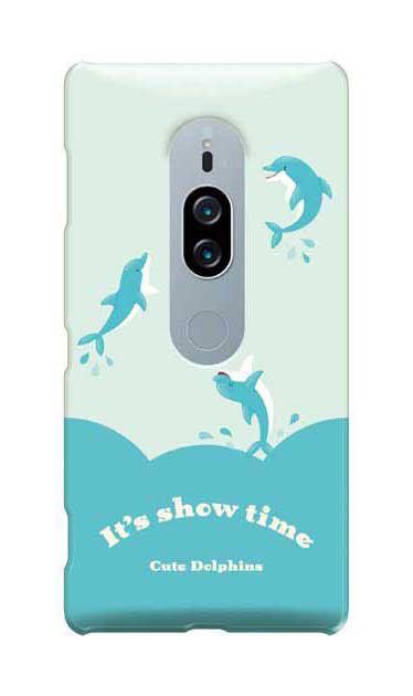 Xperia XZ2 Premiumのケース、キュートドルフィンズ【スマホケース】