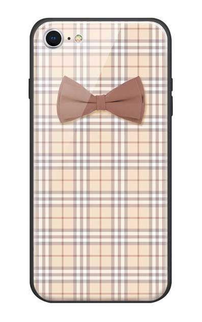 iPhone7のガラスケース、ガーリーリボンとチェック柄【スマホケース】