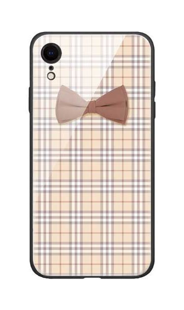 iPhoneXRのガラスケース、ガーリーリボンとチェック柄【スマホケース】