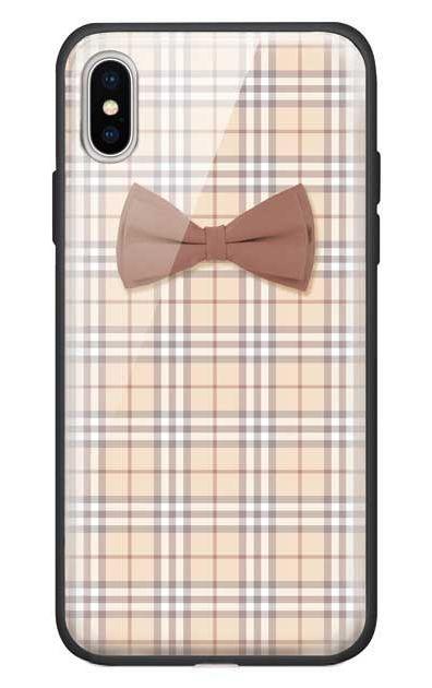 iPhoneXSのガラスケース、ガーリーリボンとチェック柄【スマホケース】