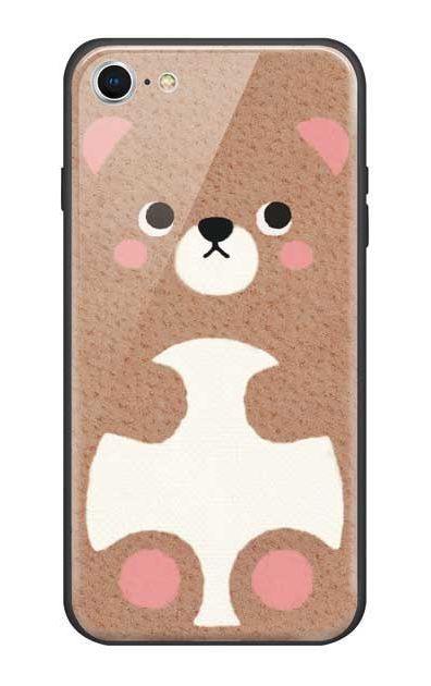 iPhone7のガラスケース、はこづめベアー【スマホケース】
